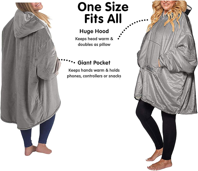 ZHBD Roben Maxi-Sweatshirt Frauen-Winter-Decke mit Ärmeln Pullover Female Warme Decke Hoodie mit Tasche mit Kapuze Robe 92.29D K