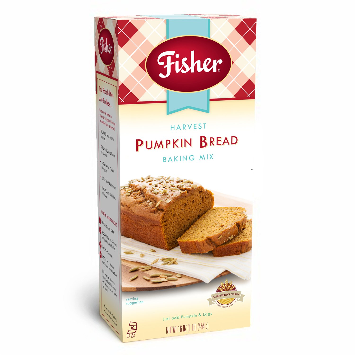 Fisher All Natural Harvest Pumpkin Bread Mix, 18 Ounce Bag, Pack of 3