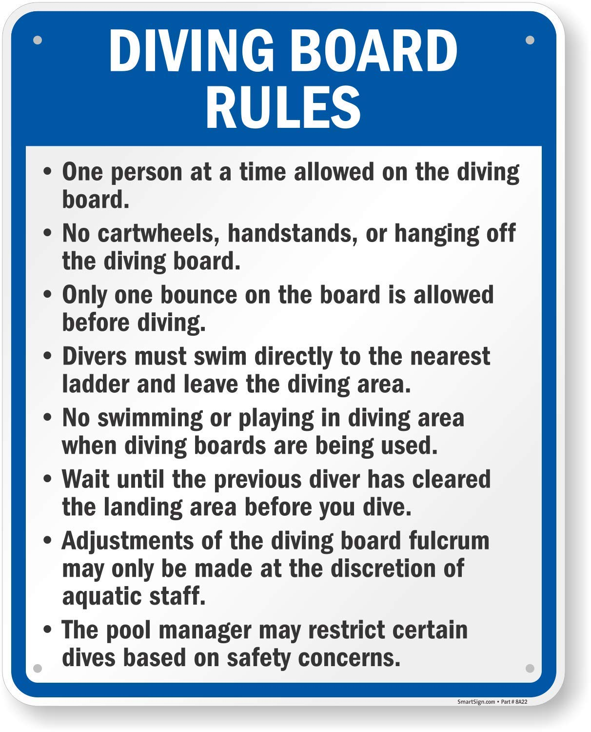 SmartSign ''Diving Board Rules'' Sign | 24'' x 30'' Aluminum by SmartSign