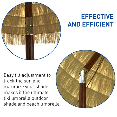 Bayside21 Tiki Umbrella 8 Thatch Patio Umbrella Tropical Palapa Raffia Tiki Hut Hawaiian Hula Beach Umbrella with tilt and Fabric Bag 8ft Tilt, Natural