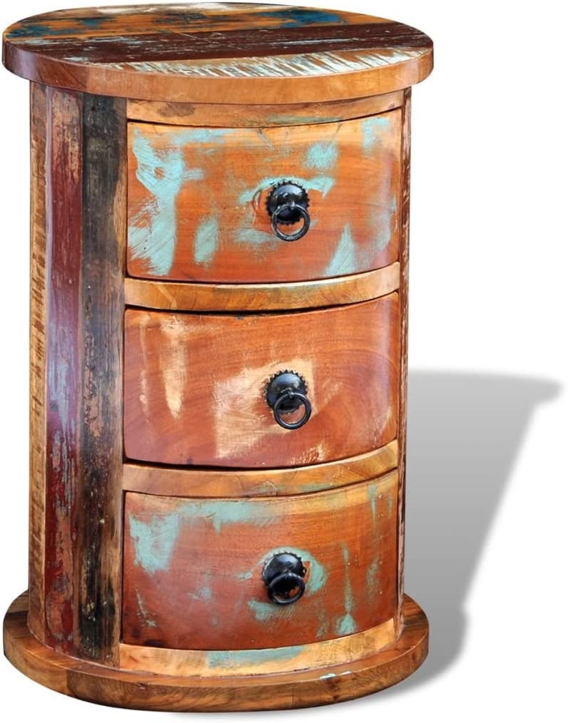 vidaXL Armoire Ronde en Bois Solide recycl/é avec 3 tiroirs Armoire de Rangement