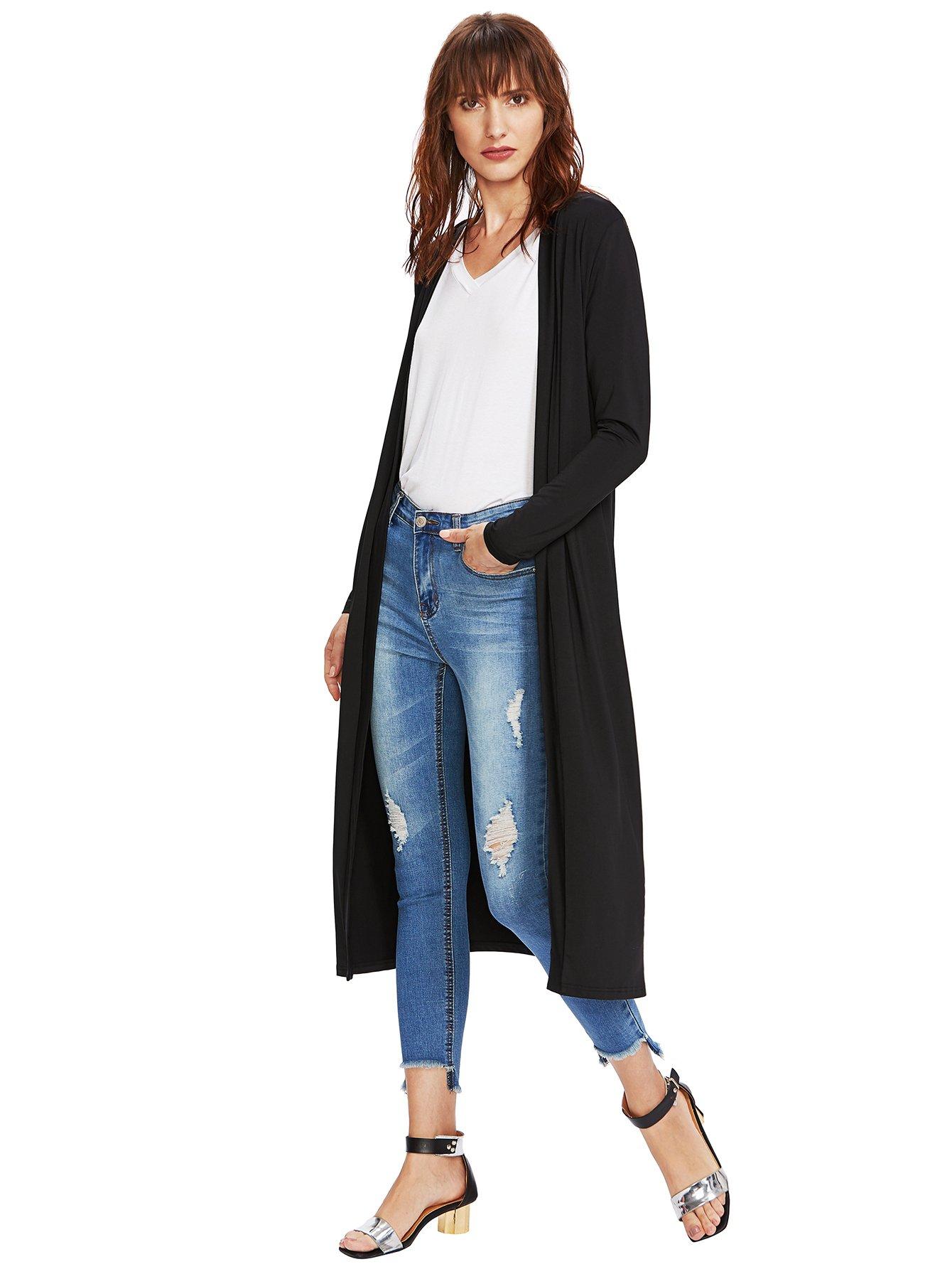 Verdusa Women's Long Sleeve Open Front Long Maxi Cardigan Longline Duster Coat Black M by Verdusa (Image #3)