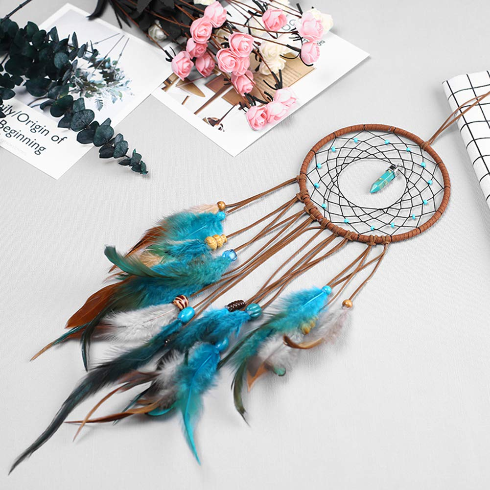 E-SHINE Dream Catchers Handmade with Feathers for Wall Hanging Decoration Wedding Decoration Craft(American Retro,Dia 5.1)