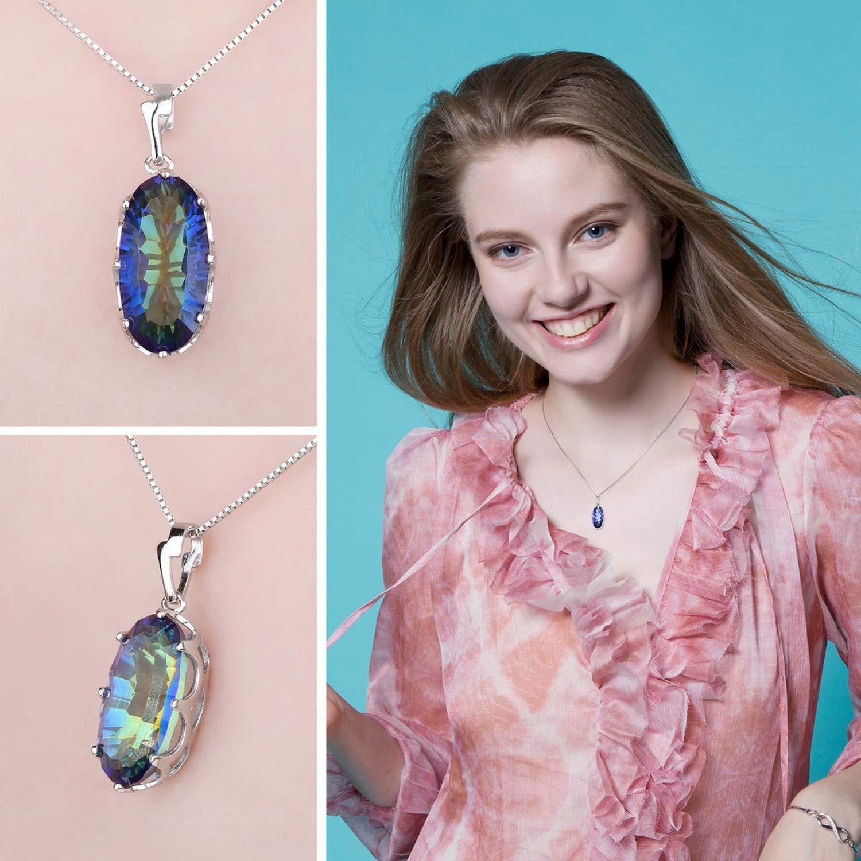 CS-DB Pendants Genuine Mystical Blue Rainbow Silver Necklaces