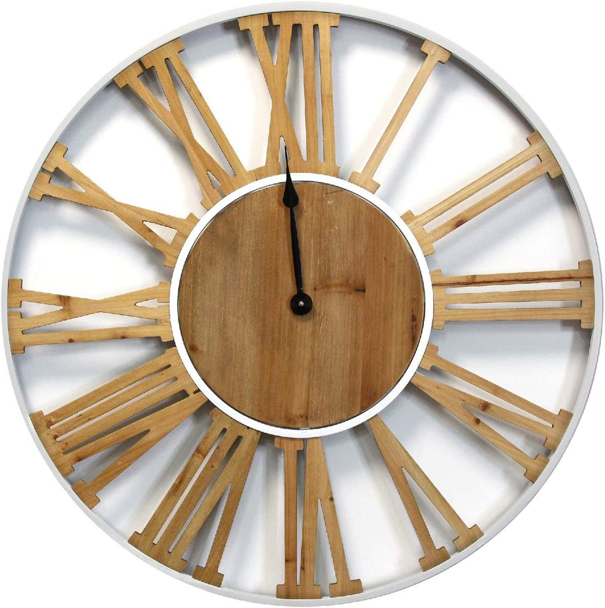"Stratton Home Décor Stratton Home Decor Franklin Wood and Metal Clock, 30.00"" W X 2.00"" D X 30.00"" H, White, Brown, Black"