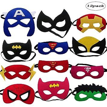 12 Piezas Máscaras de Superhéroe LMYTech Máscara Para Niños ...