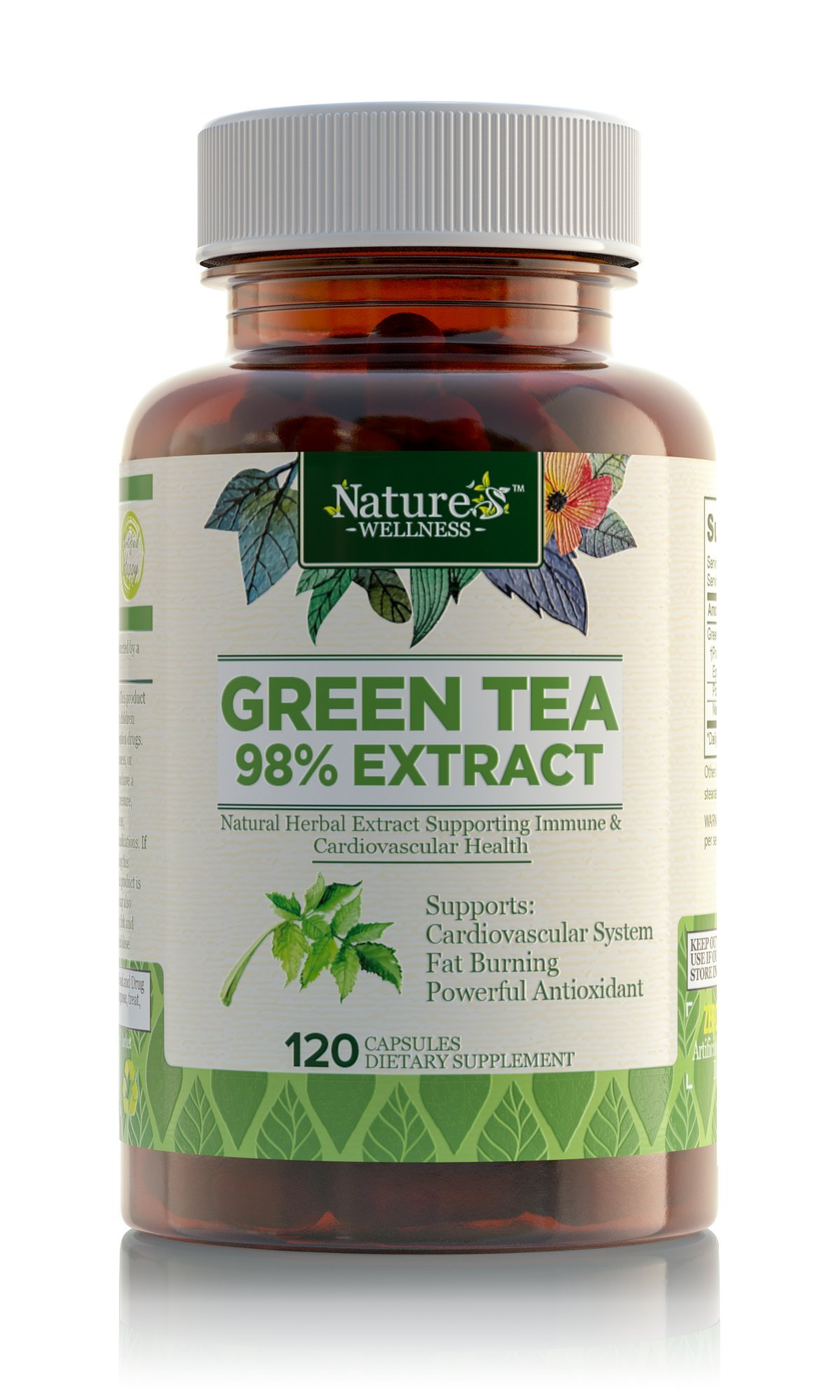 Green Tea Extract Supplement By Nature's Wellness 120-Count | Max Potency Egc.. 10