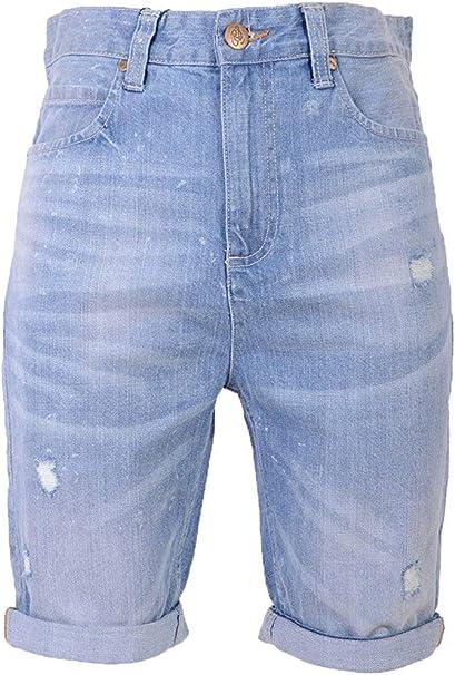 Pantalones cortos para hombre Crosshatch Wing 16 Turn Up Denim hasta la rodilla
