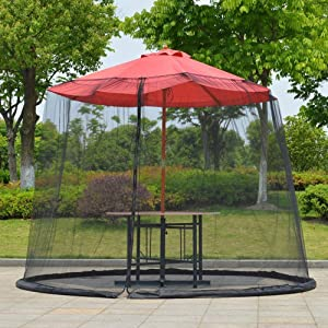 AAFERR Patio Umbrella Mosquito Nets, Outdoor Umbrella Table Screen Mosquito Bug Insect Net Mesh Garden w/Zipper Door and Adjustable Rope, Polyester Netting, Fits 8-10FT Umbrellas and Patio Tables
