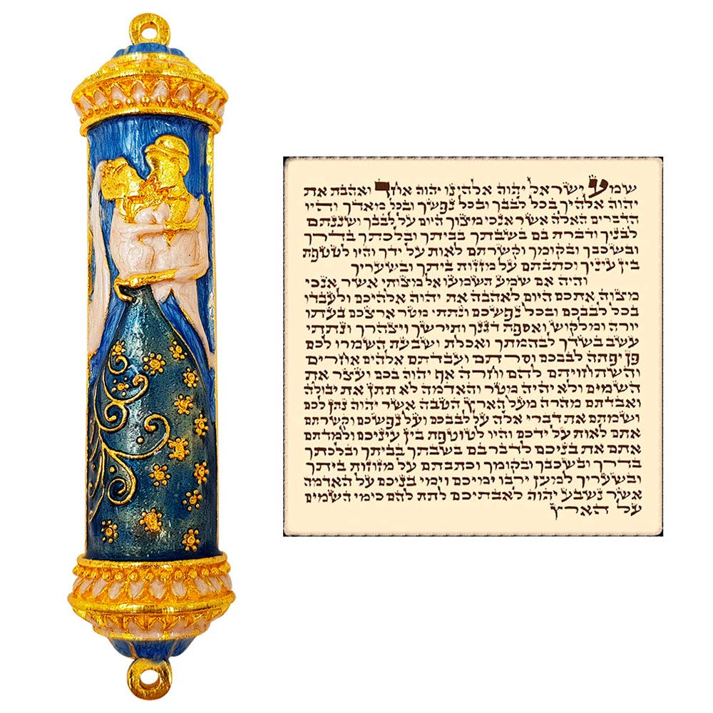 Talisman4U Blue Enamel Wedding MEZUZAH CASE with Scroll Israel Door Mezuza Judaica Gift 4''