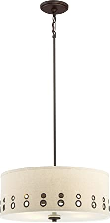 Quoizel Brown Hanging Pendant Ceiling Light with Beige Linen Drum Shade, 4-Light 400watts, LWS3233A Park Avenue, Powder Coat Bronze