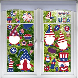 CDLong 143 PCS 4th of July Decorations Window Clings Decor, Blue Red White Large Gnomes Flags Stars Cakes Hawk Independence Day Window Stickers, Memorial Day Decorations for Home School Office