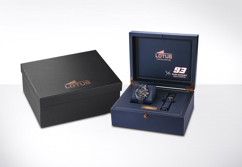 4ee4c7d34d47 Lotus Marc Marquez édition limitée 2016 Hommes de Montre à Quartz avec  Affichage Chronographe Cadran Bleu et Bracelet en Acier Inoxydable Plaqué  Bleu ...