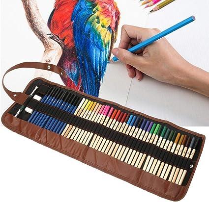 Juego de lápices de colores de 52 piezas con estuche de envoltura, 36 colores Dibujo de