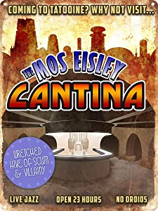 """HomDeo Vintage Metal Signs Coming to Tatooine?, The Mos Eisley Cantina Tin Sign 8""""x12"""" Home Man Cave Vintage Style Farm Unique Wall Decor"""