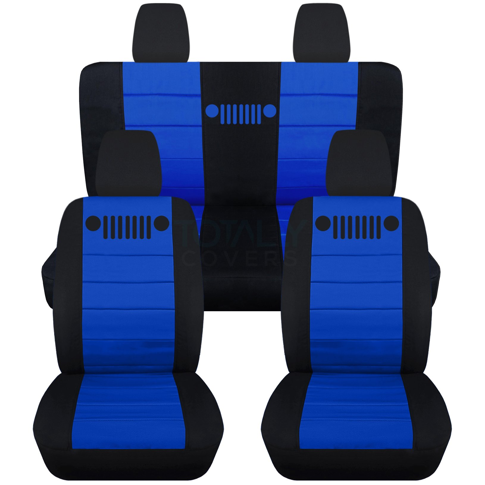 Totally Covers Fits 2011-2018 Jeep Wrangler JK Seat Covers: Black & Dark Blue - Full Set: Front & Rear (23 Colors) 2012 2013 2014 2015 2016 2017 2-Door/4-Door Complete Back Solid/Split Bench