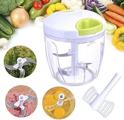 Acale - Picadora manual, cortador de verduras y frutas, picadora manual, corte, mezcla con 5 cuchillas (900 ml): Amazon.es: Hogar