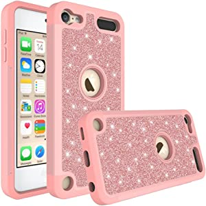 Wydan Compatible Case for iPod Touch 7th, 6th, 5th Generation - Hybrid Shockproof Glitter Protective Phone Cover - Rose Gold w/Clear Screen Protector for Apple