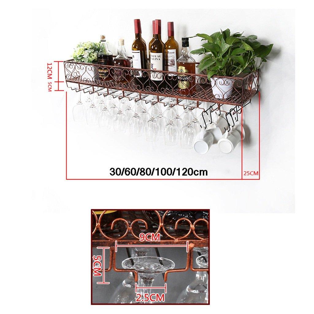 Zfusshop Multifunction Iron Wall-mounted Wine Rack-Wall Shelf Decoration Shelf Antirust For Bars,Restaurants,Kitchens,Black, Bronze Kitchen, bar, restaurant (Color : Bronze, Size : 12025cm) by Zfusshop