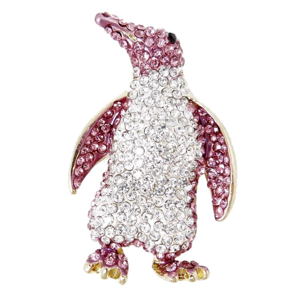 Ever Faith Gold-Tone Austrian Crystal Penguin Animal Brooch
