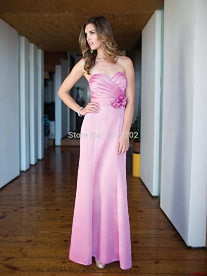 Vestidos De Fiesta 2015 Elegant Plum Color Backless Sweetheart Long Satin Girls Flower Bridesmaid Prom Dress