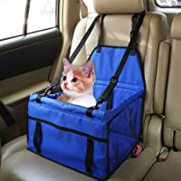 Car Booster Seat Carrier for Dog Folding Pet Cat Car Travel Safety Seat Belt Harness Cover Pet Traveling Carrier Bag Portable with Clip-On Safety Leash and Zipper Storage Pocket (Blue)