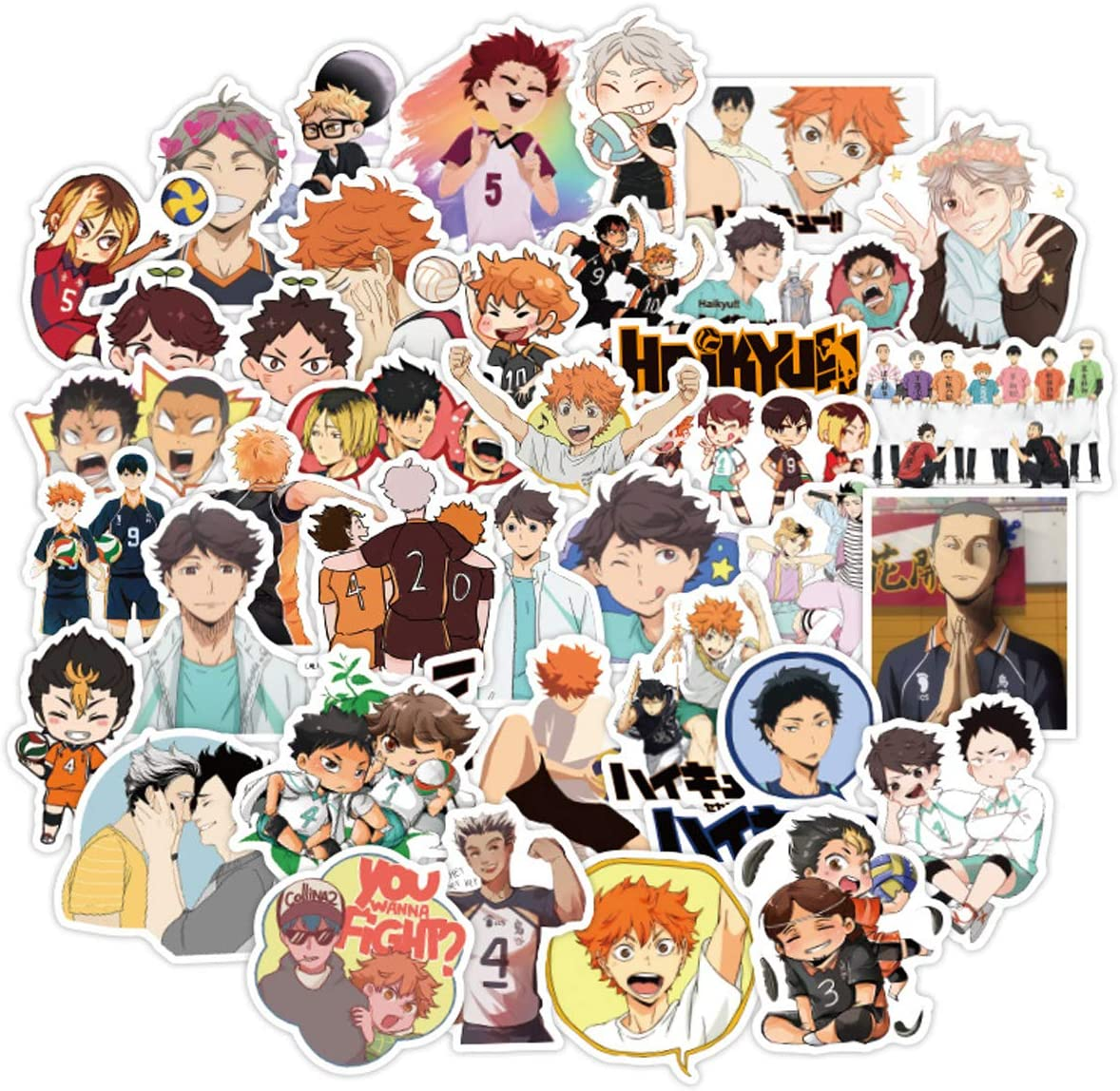Haikyuu Stickers 100pcs Waterproof Vinyl Stickers for Laptop Luggage Water Bottle Door Desk Chair Motorcycle Trendy Luggage Decals Graffiti Patches Decoration Gifts Skateboard Stickers for Boys Teens Anime Fans