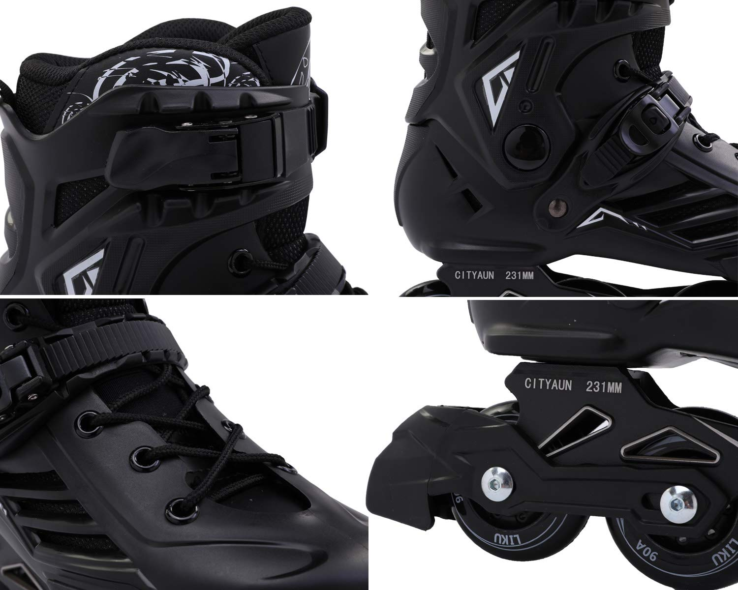LIKU Fitness Professional Inline Roller Skates Women Men Adult Youth Black (Men 6.5,Women 7.5) by LIKU (Image #6)