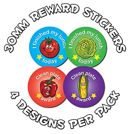 144 Stickers 30mm Childrens Reward Stickers Lunchtime Award 4 Designs