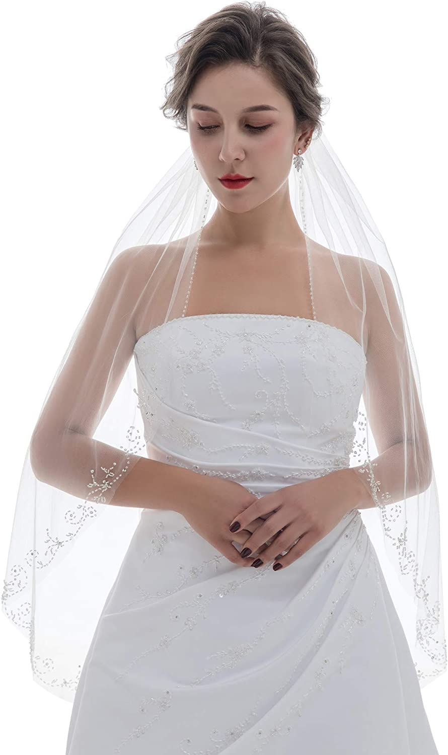 SAMKY 1T 1 Tier Floral Vine Leaf Crystal Beaded Bridal Wedding Veil