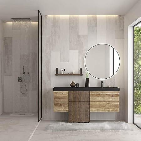 Dafne Italian Design Mobile Bagno Moderno Con Lavabo Sospeso Castagno Naturale Levigato Amazon It Casa E Cucina