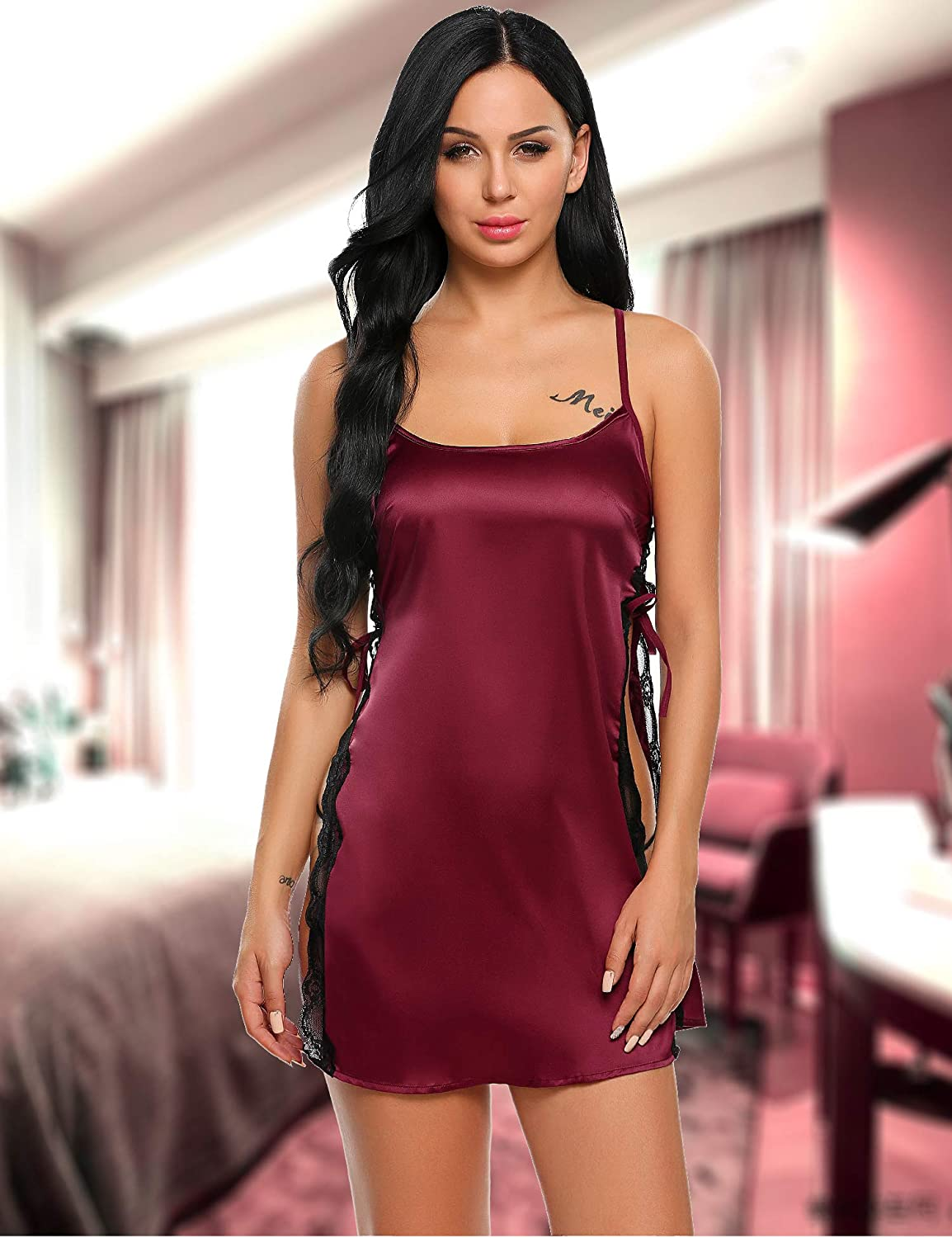 Avidlove Women Babydoll For Women Satin Nightwear Lace Chemise Sexy Nightgown: Clothing