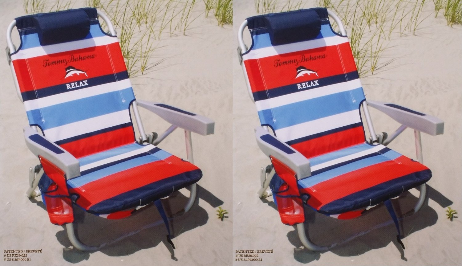 2 Tommy Bahama 2015 Backpack Cooler Chairs with Storage Pouch and Towel Bar- red/blue