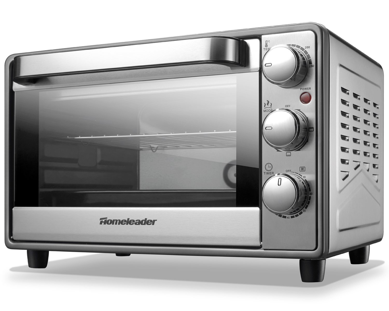 Homeleader Toaster Oven Fits 6-Slice Bread/12-Inch Pizza, Contertop Oven with Convection/Toast/Bake/Broil Function, Includes Bake Pan/Broil Rack&Tray Handle, Stainless Steel K10-044