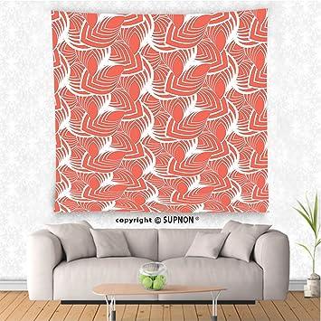 Amazon.com: VROSELV custom tapestry Coral Decor Tapestry Modern ...