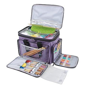 Amazon.com: luxja bolsa, bolsa de hilo de tejer con funda ...