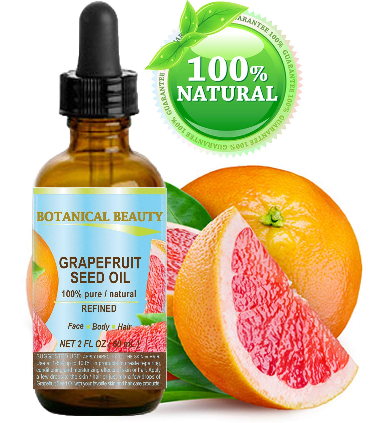 Botanical Beauty GRAPEFRUIT SEED OIL. 100% Pure Natural Undiluted Refined COLD PRESSED CARRIER OIL (NOT ESSENTIAL OIL). 2 Fl.oz.- 60 ml. For Skin, Hair and Lip Care.