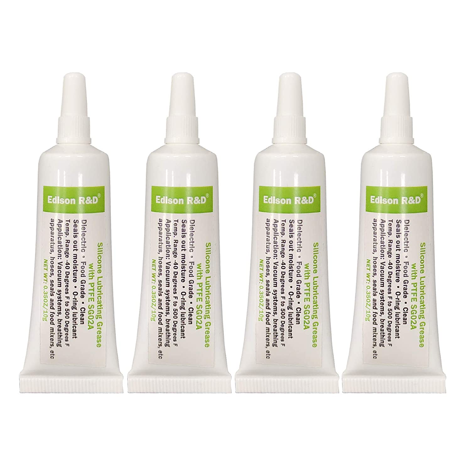 F Edison R&D Food Grade Silicone Grease SG02A with PTFE O-Ring Lubricant Faucet Leak Proof Multi-Functional Dielectric Seal Out Moisture Oil Resistant 0.35OZ(10g) x4 Pack