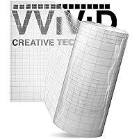 "VViViD High Gloss Clear Vinyl Transfer Paper Self-Adhesive Roll w/Grid Backing 12"" x 10ft 3mil"