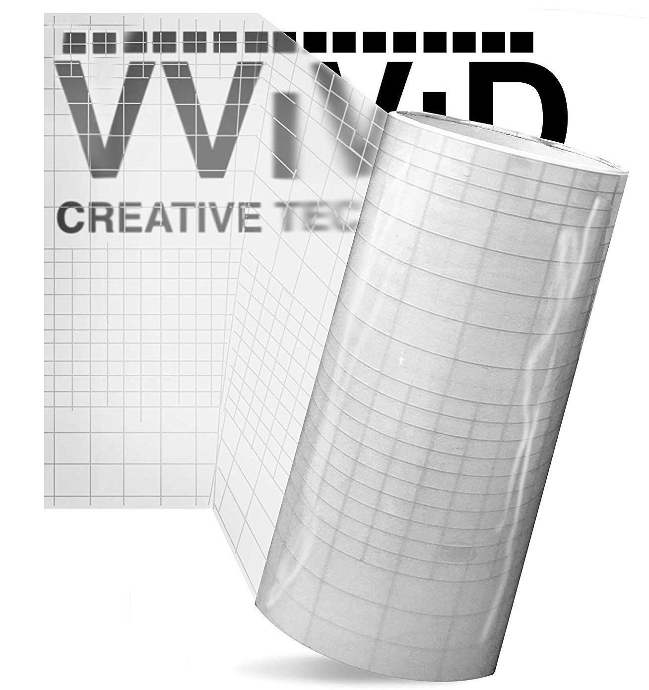 High Gloss Clear Vinyl Transfer Paper Self-Adhesive 12'' x 10ft Roll w/Grid Backing 3mil (10 rolls) by VViViD