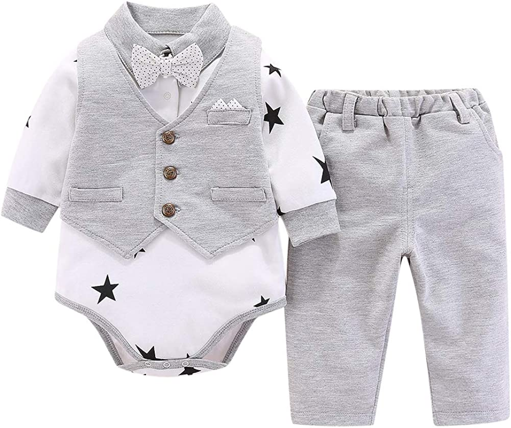 Vest Pant 3pc Romper Tuxedo with Long Sleeve Shirt CARETOO Suit Baby Kids Boys Clothing Sets Bow Tie Necktie Gentleman for Wedding and Party