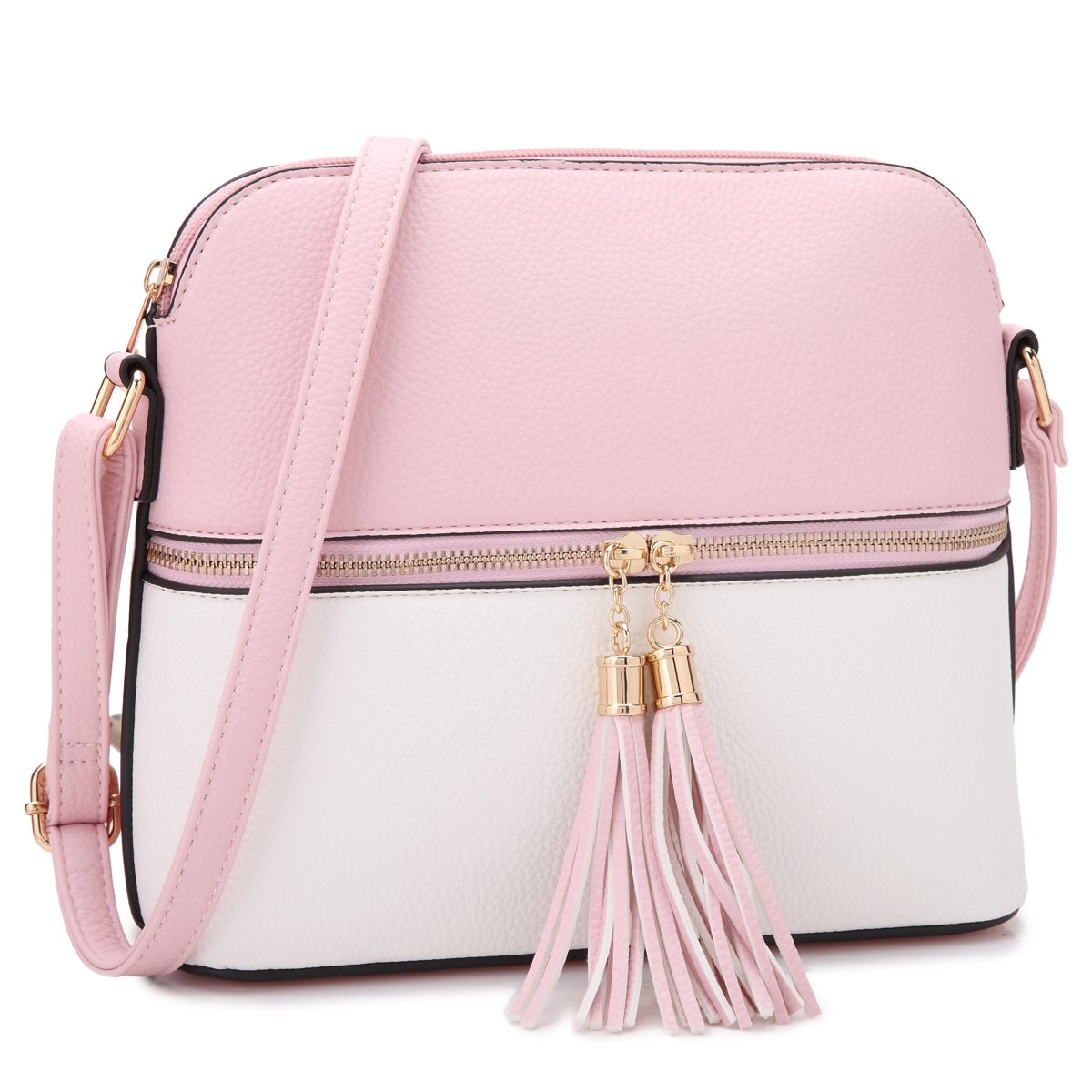MKP Collection Woman's Crossbody Bag Multi Zipper Travel Shoulder Messenger Purse~Tassel Accent Medium Crossbody Bag~Lightweight Fashion Medium Crossbody Bag with Tassel for all season~ (7660 PK/WT)