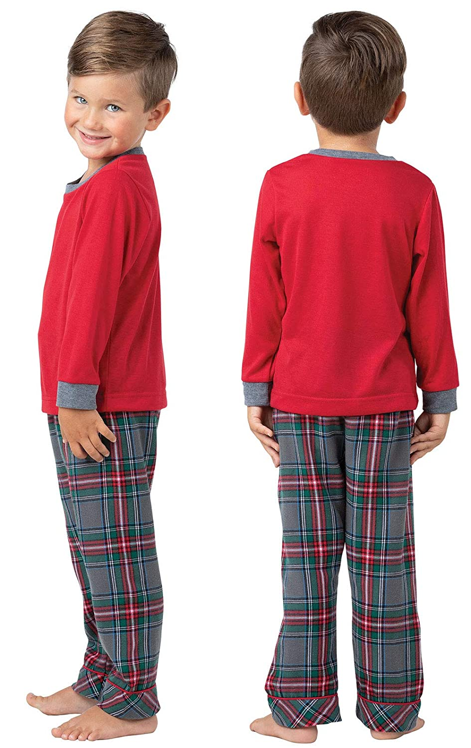 PajamaGram Toddlers Flannel Classic Plaid Pajamas with Long-Sleeved Top