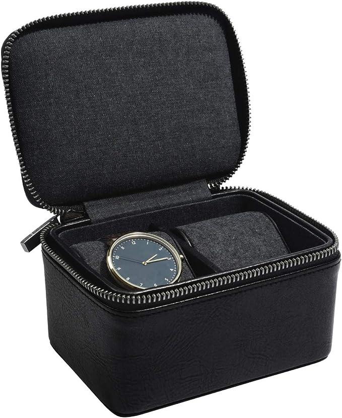Stackers - Caja de reloj con cremallera para hombre, piel sintética, negro, Doublé: Amazon.es: Hogar