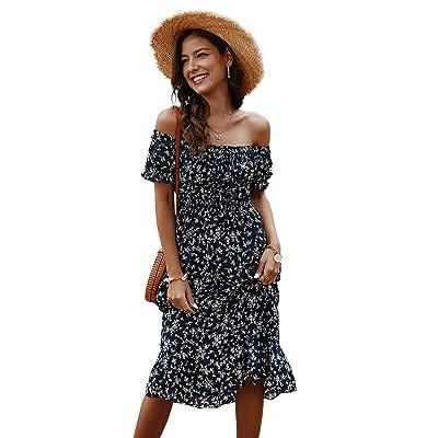 Toppshe Women Floral Print Off Shoulder Maxi Dresses Summer Boho Short Sleeve Beach Dress: Clothing [5Bkhe0402152]