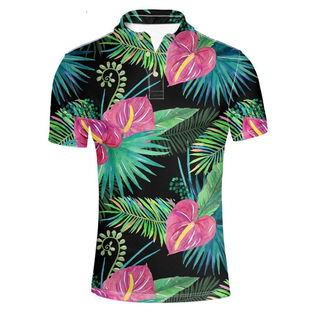 HUGS IDEA Men's Jersey Polos T-Shirt Classic Button Down Shirts Hawaiian Troical Leaves Short Sleeve