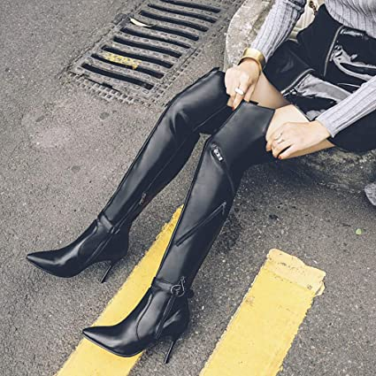 21f0b7d5838 Hy Women High Boots Artificial PU New Fall Winter Sexy Pointed Stiletto Heel  Booties