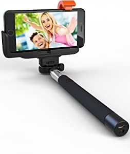 Premium 5-in-1 Bluetooth Selfie Stick for iPhone 11 10 XR XS X 8 7 6 5, Samsung Galaxy S10 S9 S8 S7 S6 S5 (Android 4.3+) - No Apps, No Downloads, No Batteries Required