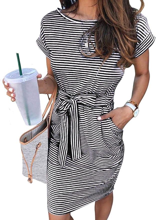 MEROKEETY Women's Summer Striped Short Sleeve T Shirt Dress Casual Tie Waist with Pockets   Amazon