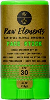 product image for Raw Elements Face Stick Certified Natural Sunscreen | Non-Nano Zinc Oxide, 95% Organic, Very Water Resistant, Reef Safe, Non-GMO, Cruelty Free, SPF 30+, All Ages Safe, Moisturizing, 0.6oz